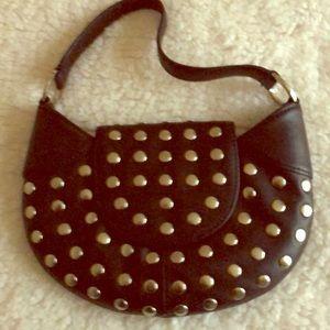 BCBGIRLS Mini Black Studded Hobo Handbag